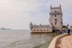 Belem-Kontrollturm in Lissabon stockbilder