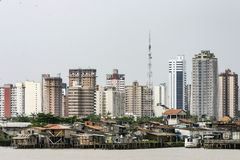 Belem: modern buildings and stilt houses on river Guama Royalty Free Stock Image