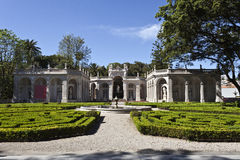 Belem Palace. Cascade Gardens and former Aviary of the Belem Palace, the official residence of the Portuguese President, located in Lisbon, Portugal royalty free stock photo