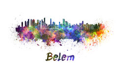 Belem skyline in watercolor Stock Photography