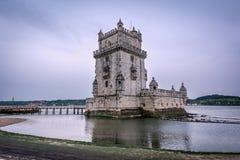 Belem torn eller Torre De Belem i Lissabon, Portugal Fotografering för Bildbyråer