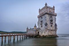 Belem torn eller Torre De Belem i Lissabon, Portugal Arkivbilder