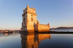 Belem torn på en solnedgång Royaltyfria Foton