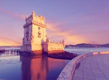 Belem torn på en solnedgång Royaltyfri Bild