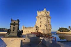 Belem torn - Torre De Belem i Lissabon Arkivbilder