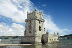 Belem Tower. Next to Tagus river in Lisbon - Classified by UNESCO as World Heritage Site Royalty Free Stock Photography