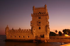 Belem Tower. On sunset stressing red colors Royalty Free Stock Images