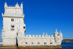 Belem tower. Side view belem tower in lisbon Stock Photography