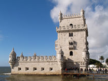 Belem Tower. LISBON - DECEMBER 31: Tourist enjoy visiting the Belem Tower (Torre de Belem), a symbol of Lisbon, listed in UNESCO World Heritage Site, on December Royalty Free Stock Photos