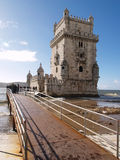 Belem Tower. LISBON - DECEMBER 31: Tourist enjoy visiting the Belem Tower (Torre de Belem), a symbol of Lisbon, listed in UNESCO World Heritage Site, on December Royalty Free Stock Images