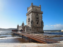 Belem Tower. LISBON - DECEMBER 31: Tourist enjoy visiting the Belem Tower (Torre de Belem), a symbol of Lisbon, listed in UNESCO World Heritage Site, on December Stock Photos