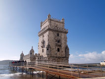 Belem Tower. LISBON - DECEMBER 31: Tourist enjoy visiting the Belem Tower (Torre de Belem), a symbol of Lisbon, listed in UNESCO World Heritage Site, on December Stock Photography