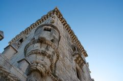 Belem tower. Detail on blue sky Stock Images
