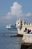 Belem Tower. One of the symbols of Lisbon, Belem Tower is located in the Belem district. It was built in the 16th century in the Portuguese Gothic style, the Royalty Free Stock Image