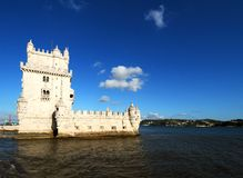 Belem Tower. A view of one side of the historic Belem Tower, Lisbon, Portugal Royalty Free Stock Photos