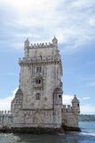 Belem tower in the bank of the Targus River (Belem, Portugal). Belem tower was built in 1519 to protect the entrance of the Targus river in Lisbon &# Stock Image