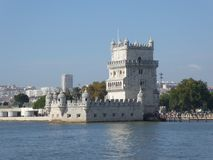 Belem Tower on the banks of the Tagus, Lisbon, Portugal, Europe stock images