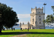 Belem tower and city park, Lisbon Royalty Free Stock Images