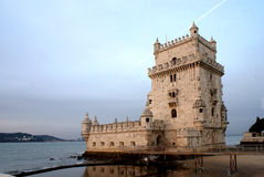 Belem Tower at dawn, in Lisbon, Portugal Royalty Free Stock Images