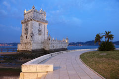 Belem Tower at dusk, Lisbon Royalty Free Stock Images
