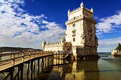 Belem tower - fortified building (fort) on an island in the Rive Royalty Free Stock Photo