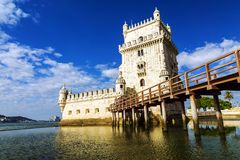 Belem tower - fortified building (fort) on an island in the Rive Stock Photography
