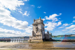 10 July 2017 - Lisbon, Portugal. Belem tower - fortified building on an island in the River Tagus. Belem tower - fortified building fort on an island in the Royalty Free Stock Image