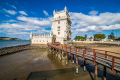 10 July 2017 - Lisbon, Portugal. Belem tower - fortified building on an island in the River Tagus. Belem tower - fortified building fort on an island in the Royalty Free Stock Photo