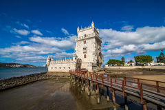 10 July 2017 - Lisbon, Portugal. Belem tower - fortified building on an island in the River Tagus. Belem tower - fortified building fort on an island in the Stock Images