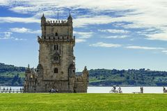 Belem Tower is a fortified tower in Lisbon royalty free stock photo