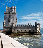Belem Tower in Lisbon. Belem Tower (Torre de Belem) in Lisbon, Portugal. A fortified tower located in the Belem district of Lisbon, Portugal; has been classified Royalty Free Stock Photos