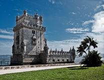 Belem Tower in Lisbon. Belem Tower (Torre de Belem) in Lisbon, Portugal. A fortified tower located in the Belem district of Lisbon, Portugal; has been classified Royalty Free Stock Photography