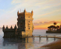Belem Tower in Lisbon. An oil painting on canvas of the famous landmark Belem tower in Lisbon, Portugal lit up by the warm light of a colorful sunset Royalty Free Stock Photography