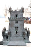 Belem tower in lisbon city. The Belem tower of Lisbon, Europe. Bronze reproduction Royalty Free Stock Photography