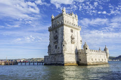 Belem tower in Lisbon. Belem tower is a fortified tower located in the civil parish of Santa Maria de Belém in the municipality of Lisbon, Portugal Royalty Free Stock Image