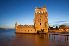 Belem Tower in Lisbon Illuminated at Dusk Stock Images