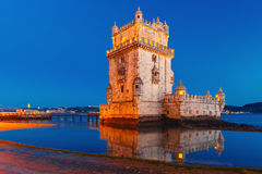 Belem Tower in Lisbon at night, Portugal Royalty Free Stock Photo