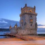 Belem Tower, Lisbon, Portugal. Belem Tower (Torre de Belem) on the Tagus River in Lisbon, Portugal at sunset time stock photos