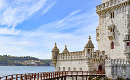 Belem Tower in Lisbon, Portugal. Detail of Belem Tower with walking bridge on Tagus river, Lisbon, Portugal Stock Image