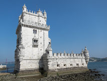 Belem Tower in Lisbon, Portugal. The fortified 16th century Belem Tower (Torre de Belem) on the banks of Tagus river in Lisbon, Portugal Stock Photos