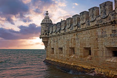 Belem tower in Lisbon Portugal at sunset Stock Photo