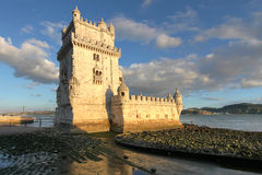 Belem Tower, Lisbon, Portugal. Torre de Belem (Belem Tower) on the Tagus River guarding the entrance to Lisbon in Portugal. This tower is among the most famous Stock Photography