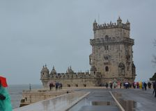 Belem tower in Lisbon in a rainy day stock photos