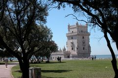 Belem tower in Lisbon on a spring day stock photos