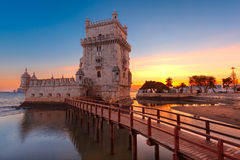 Belem Tower in Lisbon at sunset, Portugal Stock Photography