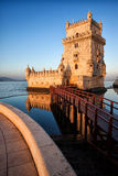 Belem Tower in Lisbon. Belem Tower on the Tagus river, famous city landmark in Lisbon, Portugal Stock Photography