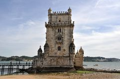 The Belem Tower in Lisbon on the Tagus River. La torre di Betlemme o, più correntemente, torre di Belém o `torre di San Vincenzo` è una torre fortificata Royalty Free Stock Photography