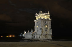 Belem Tower at Night Royalty Free Stock Photos