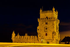 Belem tower at night. Historical monument in Lisbon, Portugal, Europe Royalty Free Stock Photo