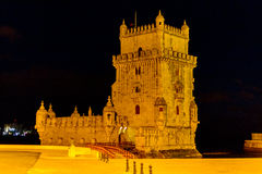 Belem tower at night. Historical monument in Lisbon, Portugal, Europe Royalty Free Stock Photos